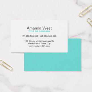 Cartes De Visite Personnel élégant simple générique moderne bleu