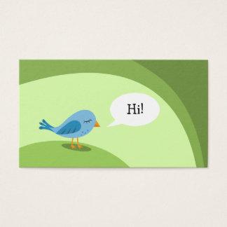 Cartes De Visite Petit oiseau bleu avec la bulle de la parole sur