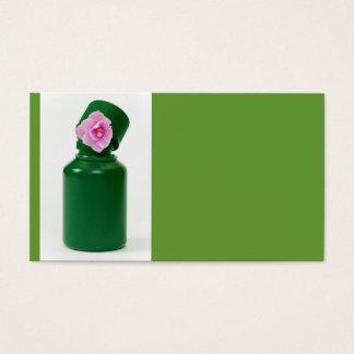 Cartes De Visite peu de bouteille verte et fleur rose