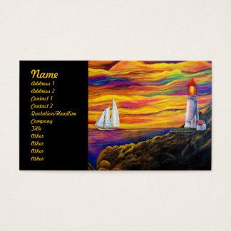 Cartes De Visite Phare au coucher du soleil avec le voilier