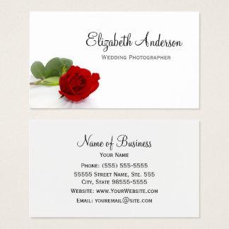 Cartes De Visite Photographe élégant de mariage de rose rouge