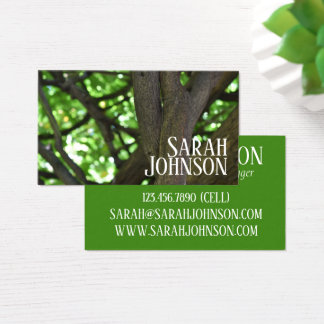 Cartes De Visite Photographie verte de nature d'arbre de pergola de