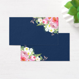 Cartes De Visite Pivoines roses sur le bleu marine Placecards
