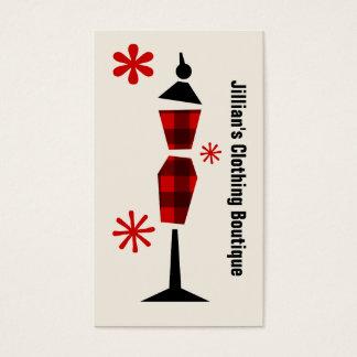 Cartes De Visite Plaid rouge et noir de boutique de magasin