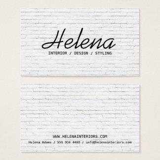 Cartes De Visite Plaine blanche moderne de mur de briques de