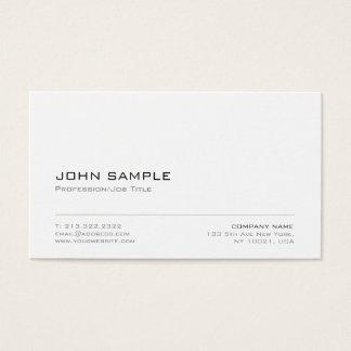 Cartes De Visite Plaine blanche moderne élégante de Minimalistic