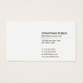 Cartes De Visite Plaine moderne élégante de Minimalistic de blanc