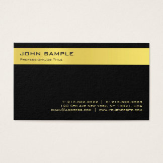 Cartes De Visite Plaine noire élégante moderne de Minimalistic d'or