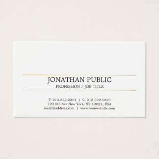 Cartes De Visite Plaine rayée de Minimalistic d'or élégant moderne