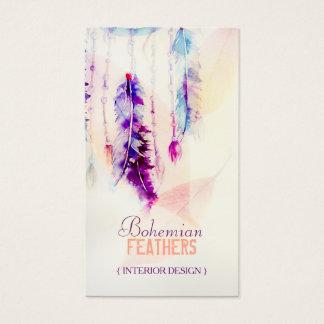Cartes De Visite Plumes de Dreamcatcher d'aquarelle de Boho