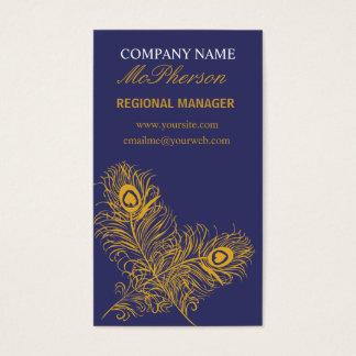 Cartes De Visite Plumes élégantes de paon d'or