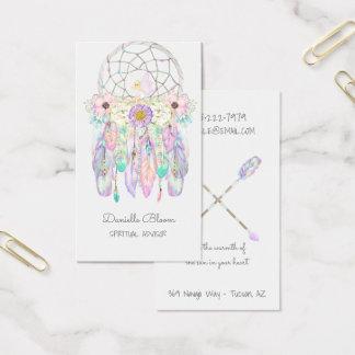 Cartes De Visite Plumes rêveuses féeriques tribales de flèches de