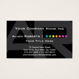 Cartes De Visite Point de base noir et gris de monogramme élégant