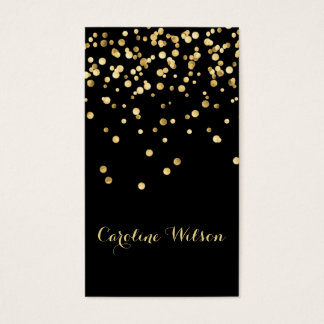 Cartes De Visite points de confettis de feuille d'or de faux sur le