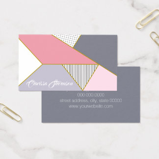 Cartes De Visite Pois géométrique élégant de rayures en pastel