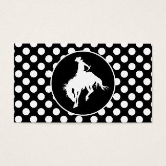 Cartes De Visite Pois noir et blanc ; Cowboy de rodéo