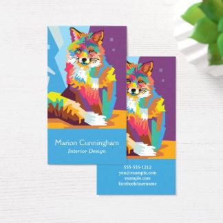 Cartes De Visite Portrait coloré de Fox d'art de bruit