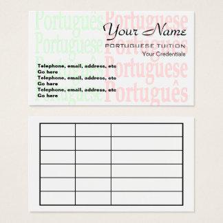 Cartes de visite portugais de rendez-vous de
