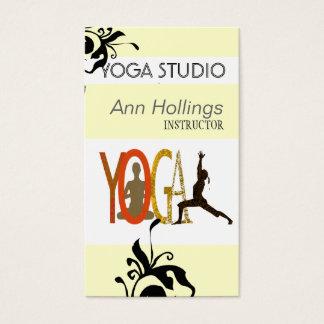 Cartes De Visite Pose florale d'arbre de conception de yoga de lis