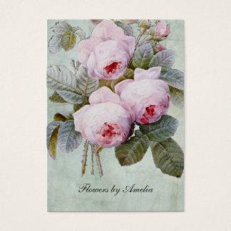 Cartes De Visite Potelé botanique de roseraie anglaise vintage