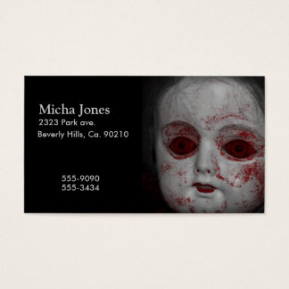 Cartes De Visite Poupée pâle de peau avec les yeux rouges sang
