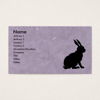 Cartes De Visite Pourpre marbré par silhouette noire de lapin