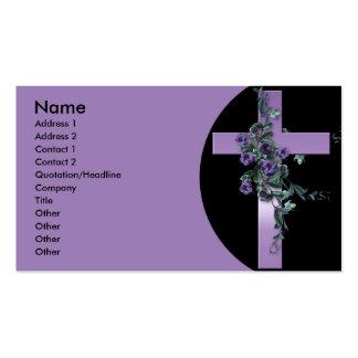 Cartes de visite pourpres de croix et de fleurs modèles de cartes de visite
