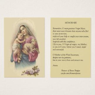 Cartes De Visite Prière bénie de Jésus Memorare de bébé de Vierge