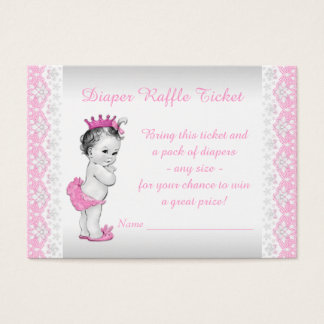 Cartes De Visite Princesse rose Diaper Raffle Ticket
