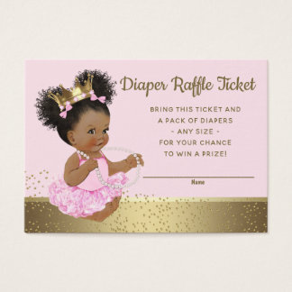 Cartes De Visite Princesse rose Diaper Raffle Tickets d'or