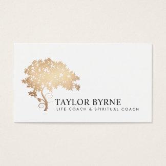 Cartes De Visite Professionnel élégant de logo d'arbre d'or