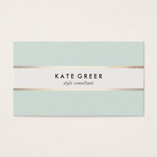 Cartes De Visite Professionnel rayé élégant de turquoise et d'or