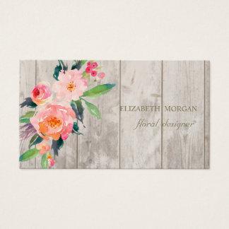 Cartes De Visite Professionnel romantique, fleurs, texture en bois