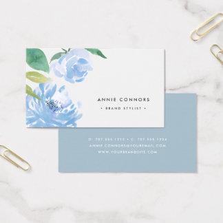 Cartes De Visite Quelque chose aquarelle bleue de | florale