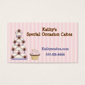 Cartes de visite rayés roses doux de boulangerie