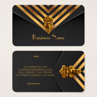Cartes De Visite Rayure de velours de noir d'or d'affaires de
