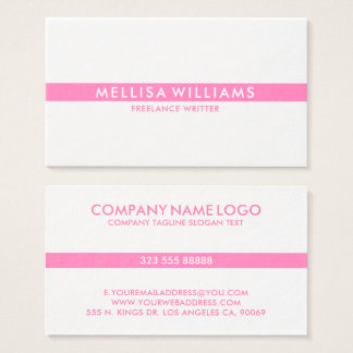 Cartes De Visite Rayure mince rose de Minimalistic sur le blanc