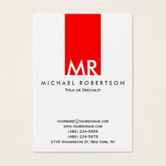 Cartes De Visite Rayure rouge blanche de monogramme indestructible