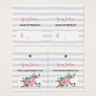 Cartes De Visite Rayures argentées chics de ciseaux et étiquettes