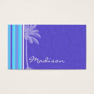Cartes De Visite Rayures bleues et pourpres tropicales ; Rayé