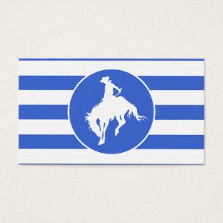 Cartes De Visite Rayures de bleu royal et de blanc ; Cowboy de