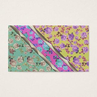 Cartes De Visite Rayures florales colorées à la mode de hippie