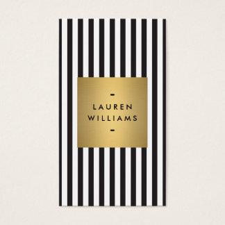 Cartes De Visite Rayures noires et blanches audacieuses Luxe avec