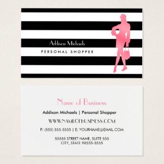 Cartes De Visite Rayures personnelles à la mode de noir de femme de