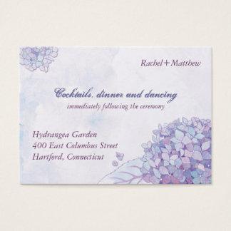 Cartes De Visite Réception de mariage élégante d'hortensia