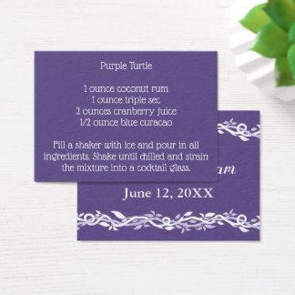 Cartes De Visite Recette ultra-violette de boissons de signature de