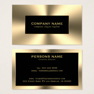 Cartes De Visite Regard brillant d'acier inoxydable de tons d'or