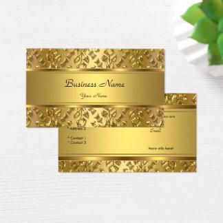 Cartes De Visite Regard de relief par damassé chique élégante d'or