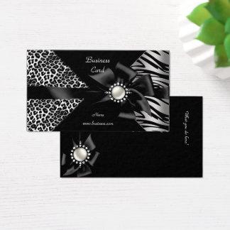 Cartes De Visite Regard élégant de diamant noir de léopard de zèbre