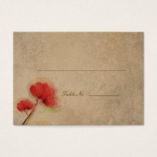 Cartes De Visite Regard rouge vintage de parchemin de pavots